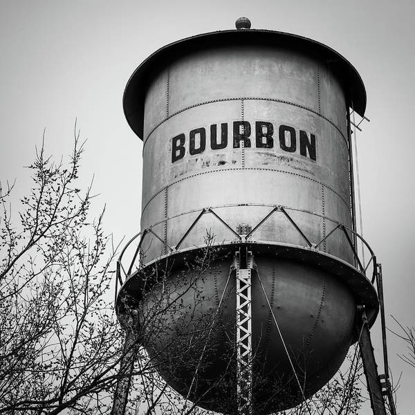Photograph - Bourbon Whiskey Barrel Water Tower - Bw Edition 1x1 by Gregory Ballos
