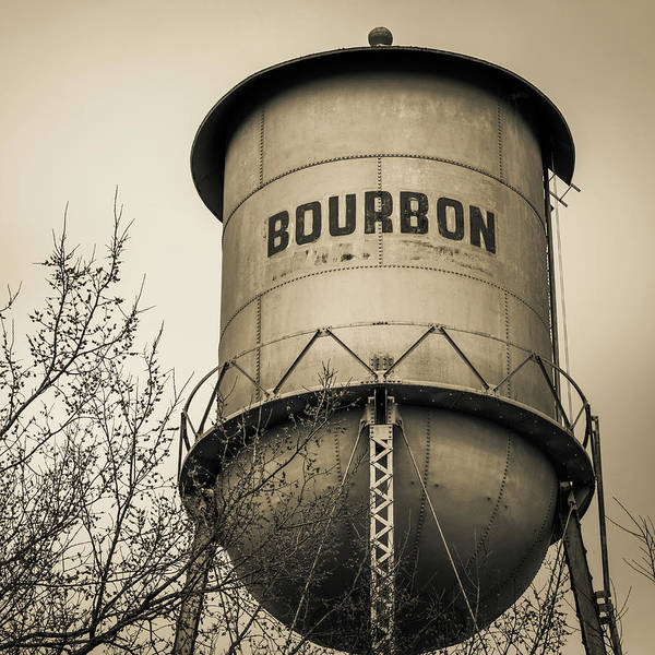 Photograph - Bourbon Whiskey Barrel Water Tower - Sepia Edition 1x1 by Gregory Ballos