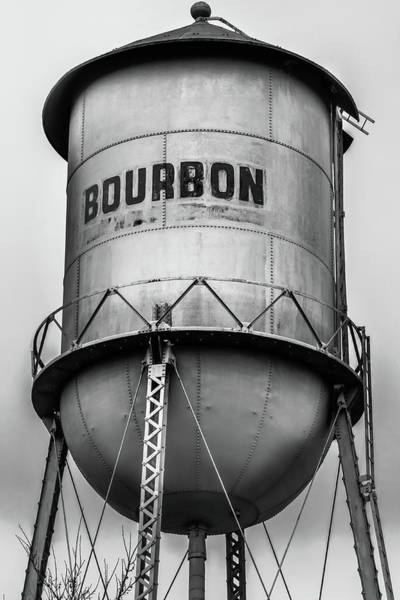 Photograph - Bourbon Whiskey Monochrome Water Tower by Gregory Ballos