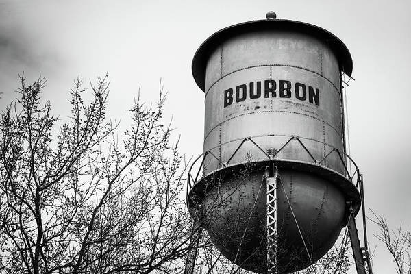 Photograph - Bourbon Whiskey Vintage Monochrome Water Tower by Gregory Ballos