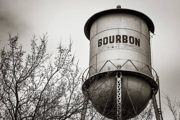 Photograph - Bourbon Whiskey Vintage Sepia Water Tower by Gregory Ballos