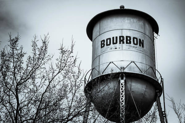 Photograph - Bourbon Whiskey Vintage Water Tower In Selenium Monochrome by Gregory Ballos