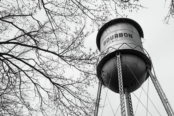 Photograph - Bourbon Whiskey Water Barrel Tower - Monochrome by Gregory Ballos
