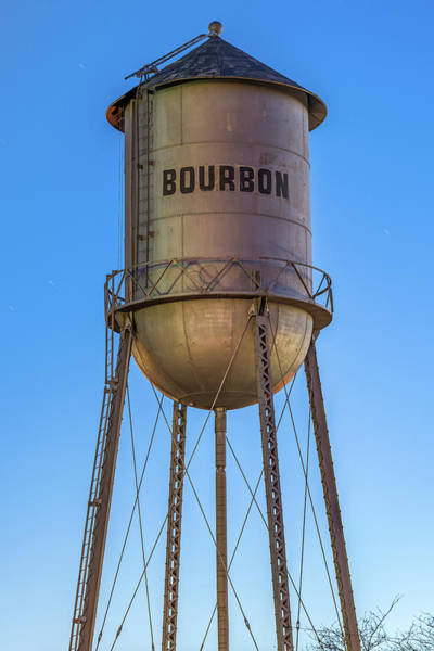 Photograph - Bourbon Whiskey Water Tower At Dusk by Gregory Ballos