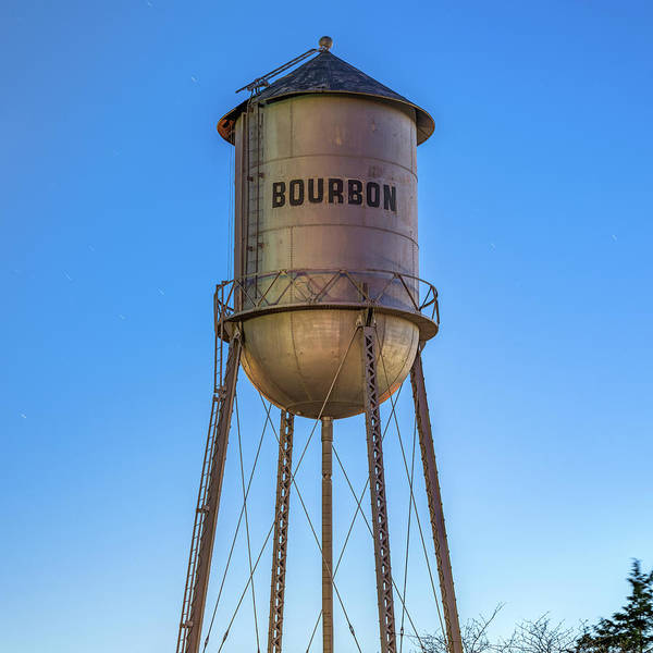 Photograph - Bourbon Whiskey Water Tower At Dusk - Square Decor by Gregory Ballos