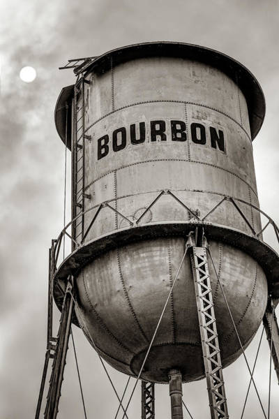 Photograph - Bourbon Whiskey Water Tower Under The Sun - Sepia Edition by Gregory Ballos