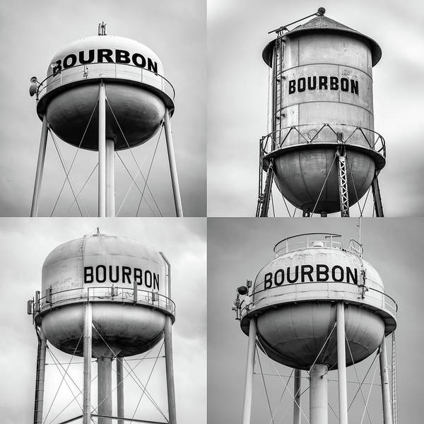 Photograph - Bourbon Whiskey Water Tower Collage - Monochrome 1x1 by Gregory Ballos