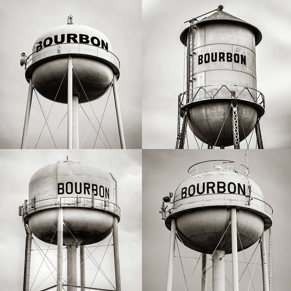 Photograph - Bourbon Whiskey Water Tower Collage - Sepia 1x1 by Gregory Ballos