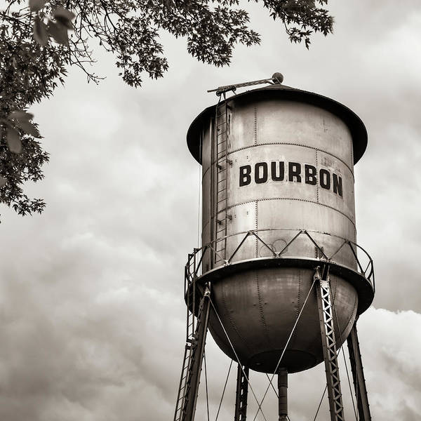 Photograph - Bourbon Whiskey Water Tower Under Tree Foliage - Sepia Square by Gregory Ballos