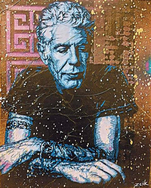 Wall Art - Painting - Bourdain - The Parts Unknown by Bobby Zeik