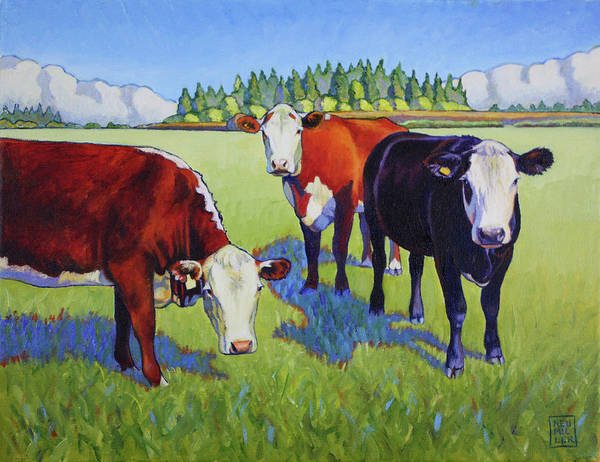 Wall Art - Painting - Bovine Buddies by Stacey Neumiller