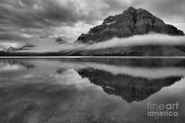 Photograph - Bow Lake Summer Storm Clouds Black And White by Adam Jewell