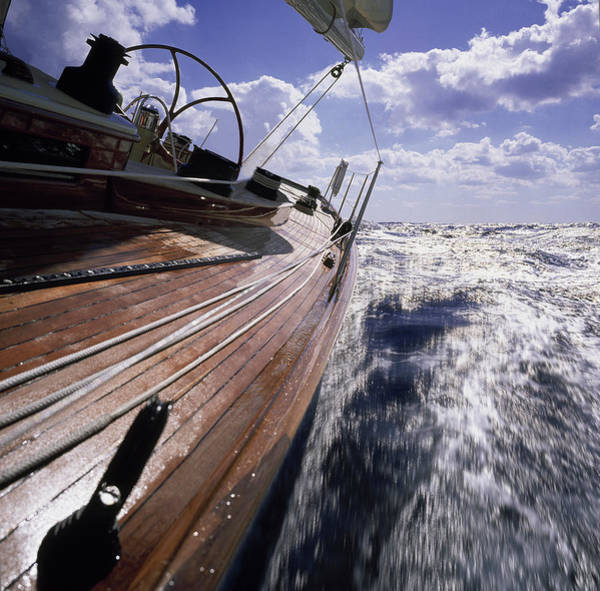 Boat Deck Photograph - Bow Of Sailing Yacht With Wooden Deck by Gary John Norman