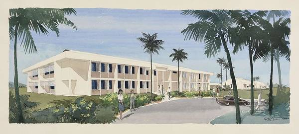 College Campus Painting - Bowen College Of Tafe Design Development Artist Impression In Watercolour   Art By Ronald Wu Depar by Celestial Images