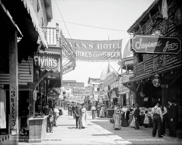 Wall Art - Photograph - Bowery Street At Coney Island 1903 by Daniel Hagerman
