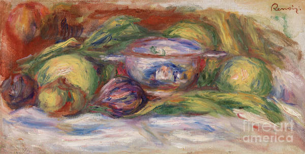 Wall Art - Painting - Bowl, Figs, And Apples, 1916 by Pierre Auguste Renoir
