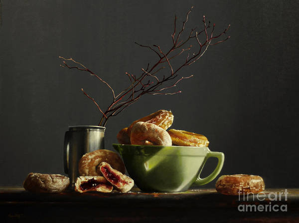 Dogwood Painting - Bowl Of Donuts by Lawrence Preston