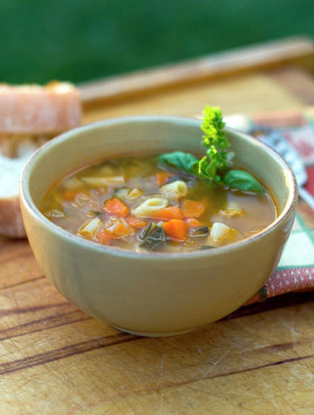 Wall Art - Photograph - Bowl Of Minestrone Italian Soup, Winter by Funwithfood