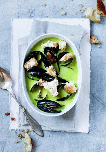 Vertical Line Wall Art - Photograph - Bowl Of Pea And Mussels Soup by Line Klein