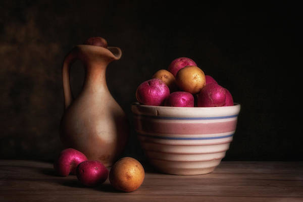 Jug Wall Art - Photograph - Bowl Of Potatoes With Pitcher by Tom Mc Nemar