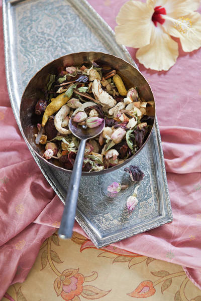 Rose Bowl Photograph - Bowl Of Rose Tea With Hibiscus Flower by Pam Mclean