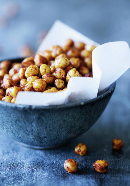 Vertical Line Photograph - Bowl Of Spicy Chickpeas by Line Klein