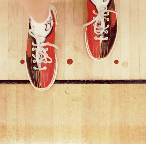 Ten Pin Bowling Wall Art - Photograph - Bowler With Bowling Shoes Stepping Over by Sylvia Serrado