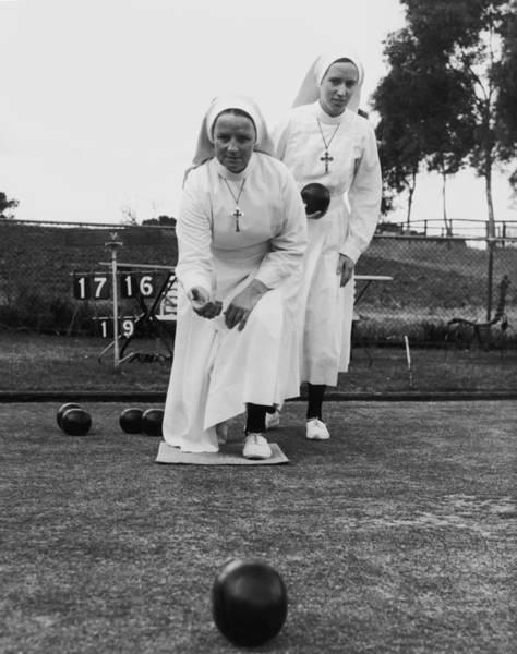 Christianity Photograph - Bowling Nuns by Keystone