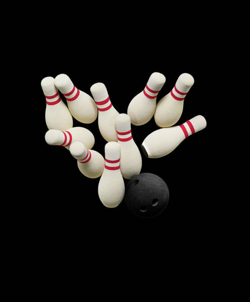 Ten Pin Bowling Wall Art - Photograph - Bowling Pins And Ball Set On Black by Dwight Eschliman