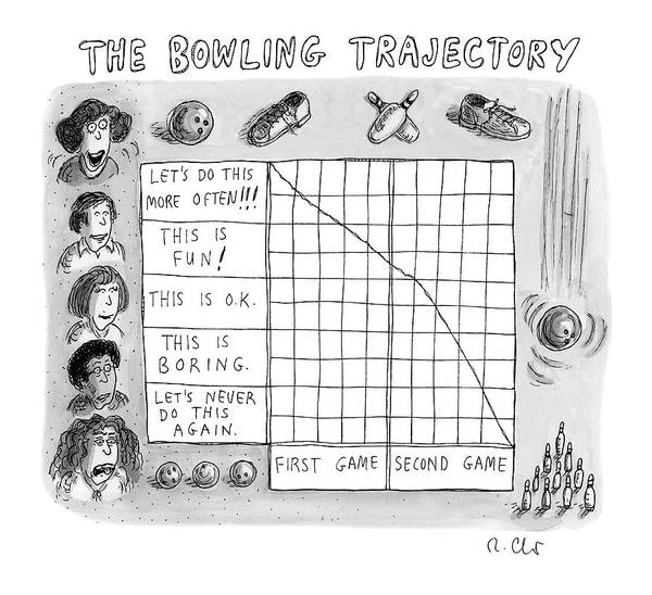 8 Drawing - Bowling Trajectory by Roz Chast