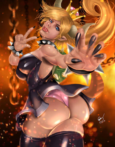 Painting - Bowsette by Pete Tapang