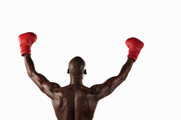 Shaved Head Photograph - Boxer Cheering With Fists In Air by Moof