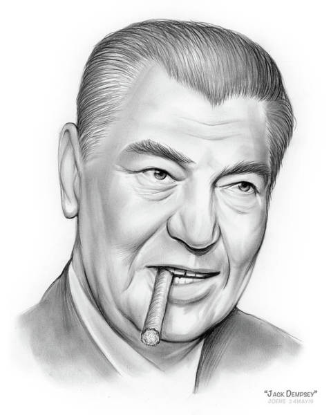 Drawing - Boxer Jack Dempsey by Greg Joens