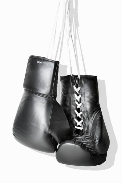 Boxing Photograph - Boxing Gloves Hanging Against White by Burazin