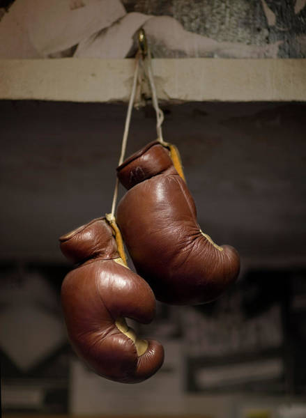 Hanging Photograph - Boxing Gloves Hanging From Hook by Christian Adams