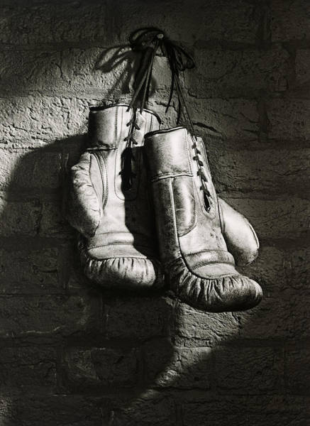 Hanging Photograph - Boxing Gloves Hanging From Nail B&w by Ray Massey