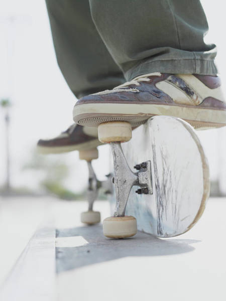 Skateboard Photograph - Boy 10-12 Balancing On Side Of by Sean Justice