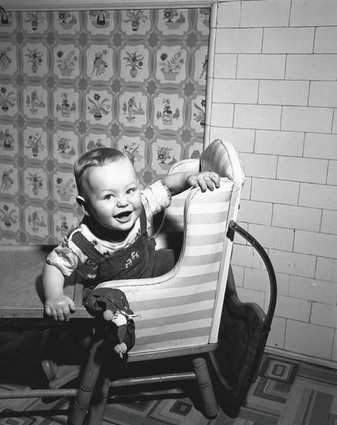 2 Photograph - Boy 2-3 Sitting In High Chair,  B&w by George Marks
