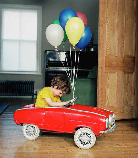 2 Photograph - Boy 2-4 Sitting In Toy Car Decorated by Michael Wildsmith