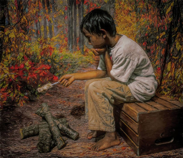 Mixed Media - Boy All Alone In The Woods by Pamela Walton
