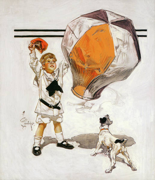 Wall Art - Painting - Boy And Dog And A Balloon - Digital Remastered Edition by Joseph Christian Leyendecker