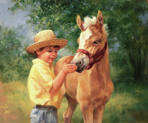 Wall Art - Painting - Boy And Foal  by Laurie Snow Hein