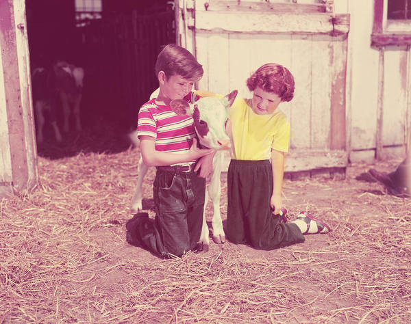 Sweater Photograph - Boy And Girl Kneeling Straw In Barn by H. Armstrong Roberts