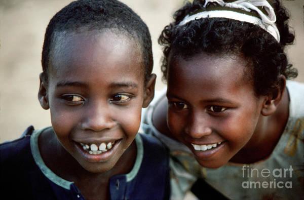 Mogadishu Wall Art - Photograph - Boy And Girl Smiling In Mogadishu Somalia by Wernher Krutein