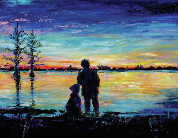Wall Art - Painting - Boy And His Dog Oil Painting Of Sunset by Kim Guthrie
