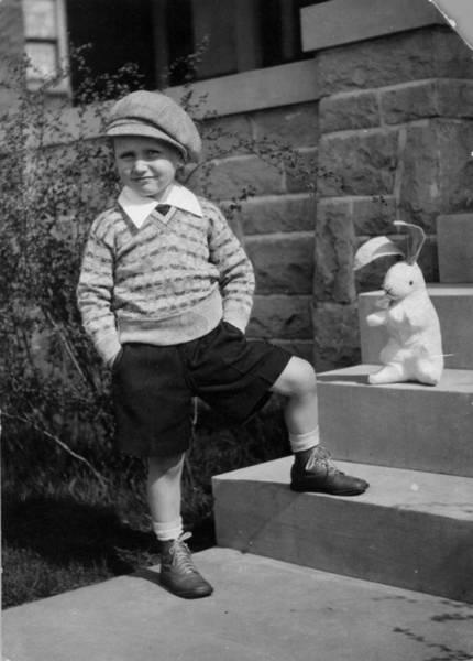 Black Cap Photograph - Boy And Toy by Henry Guttmann