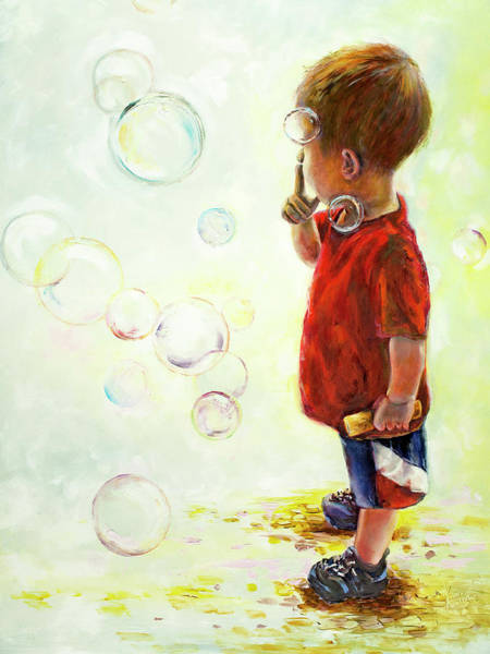 Wall Art - Painting - Boy Blowing Bubbles Painting by Kim Guthrie