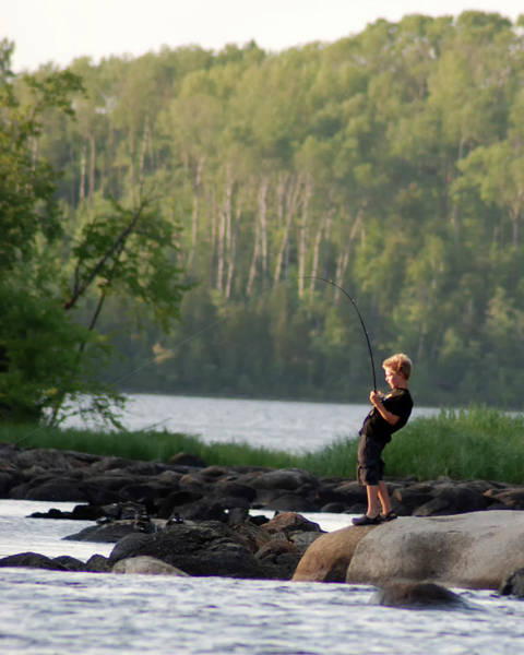 Bwcaw Photograph - Boy Fishing In The Boundary Waters by Jayson Tuntland