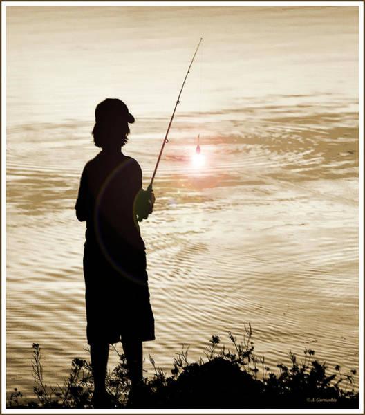 Photograph - Boy Fishing Silhouette by A Gurmankin