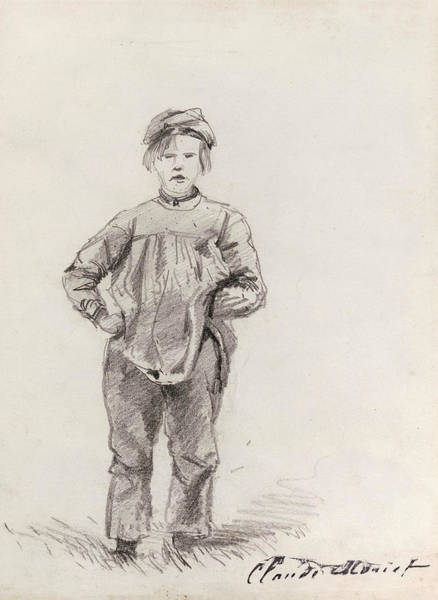 Wall Art - Drawing - Boy In The Country by Claude Monet